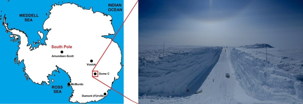 The position of the CONCORDIA station is shown on the left (Dome C, Antarctica). Right: A view of a trench used to collect micrometeorites. Science Direct has the tale. J. Rojasa, J. Duprat, and others